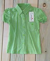 Рубашка с коротким рукавом в клетку на девочку Польша на рост 122 см, 128 см, 134 см