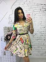 Женское шифоновое стильное платье с принтами (4 цвета), фото 1