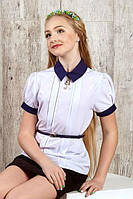 Школьная  блуза с коротким  рукавом  для девочки., фото 1