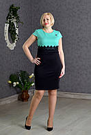 Батальное платье с завышеной талией бирюза размер:50,52,54
