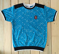 Футболка на мальчика синяя со звездами Турция на рост 140 см, 152 см, 164 см, 176 см