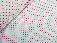 Хлопковая ткань малиновый горох 4 мм на белом фоне