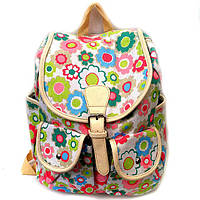 Летний женский городской рюкзак с цветочным принтом