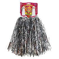 Помпоны-махалки серебро для танцев,утреников,черлидинга