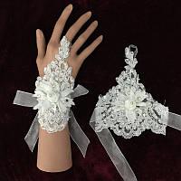Свадебные перчатки без пальцев, белые митенки с цветком розы и стразами