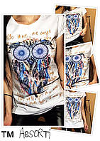"Летняя футболка ""Сова"" цв. молоко, Турция (р. 42,44,46,48) 5862"