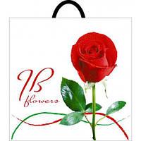 """Пакет с петлевой ручкой """"Роза красная"""" 40x44 см(уп.50 шт.)"""