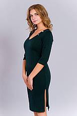 Модное женское трикотажное платье с разрезами, фото 2