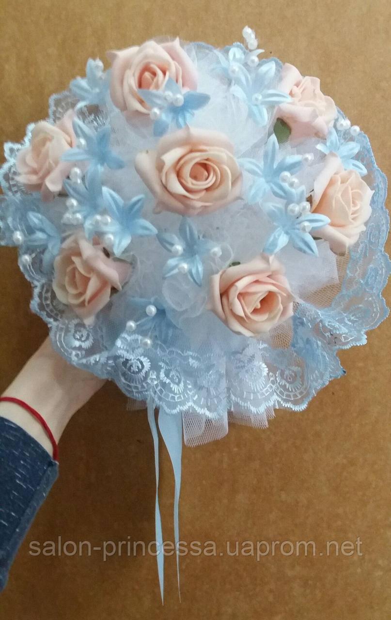 """Свадебный букет-дублёр невесты """"Кружева"""" (персиково-голубой) - Свадебный салон """"Принцесса"""" Чернигов в Чернигове"""