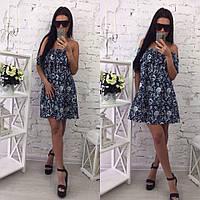 Женское модное свободное платье с рюшей и цветочным принтом (расцветки), фото 1