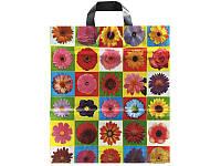 """Пакет с петлевой ручкой """"Цветы в квадрате"""" 40x40+3/85 мк (уп.25 шт.) средний"""
