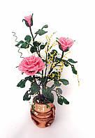 Цветы из бисера, куст роз, фото 1