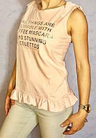 Модная стильная блузка на завязках с оборкой по низу с принтом надпись