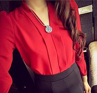 Блузка женская красная шифоновая