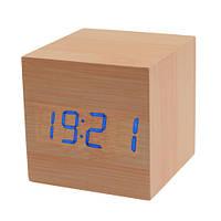 """Часы """"Деревянный куб"""" с термометром и будильником"""