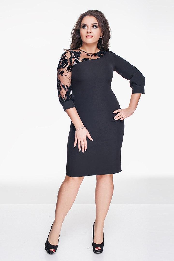 ba4bdf12cd53 Красивое женское черное платье батал + рукав с манжетом. Арт-1295 69 ...