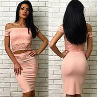 Женский молодежный летний костюм-юбка с коротким гипюровым топом  +цвета