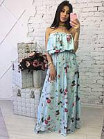 Женское стильное шелковое платье в пол (2 цвета)