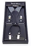 Подтяжки мужские подарочные черно-белые Paolo Udini , фото 1