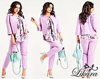 Женский брючный костюм-тройка, блузка с принтом и жакет, разные расцветки, большие размеры