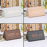 Треугольные LED часы с будильником и термометром