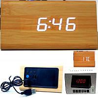 Электронные сетевые часы WOODEN LED CLOCK