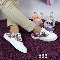 Кеды женские мокасины белоснежные на шнурках, фото 1