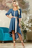 Синее летнее платье с поясом