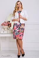 Жаккардовый летний костюм с принтованным рисунком платье и жакет большого размера 48-56 размера, фото 1
