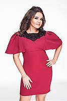Красивое женское бордовое платье батал с кружевом и  воланами на рукавах.  Арт-1298/69