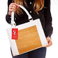 Сумка женская белая 1378gold деловая с золотом