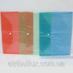 А4 папка на кнопке цветная W209 прозрачная 14 микрон МИКС