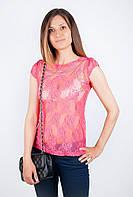 женские футболки больших размеров ажурная AG-0001389 (Коралловый)