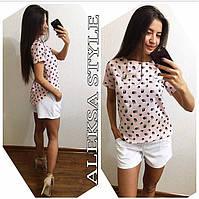 Женский модный костюм: футболка-блуза и шорты (расцветки), фото 1