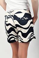 Шорты женские выше колена с подворотами AG-0001822 (Черно-молочный)