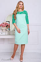 Красивое платье с обьемным рисунком и гипюровыми рукавами большого размера 48-56 размера, фото 1