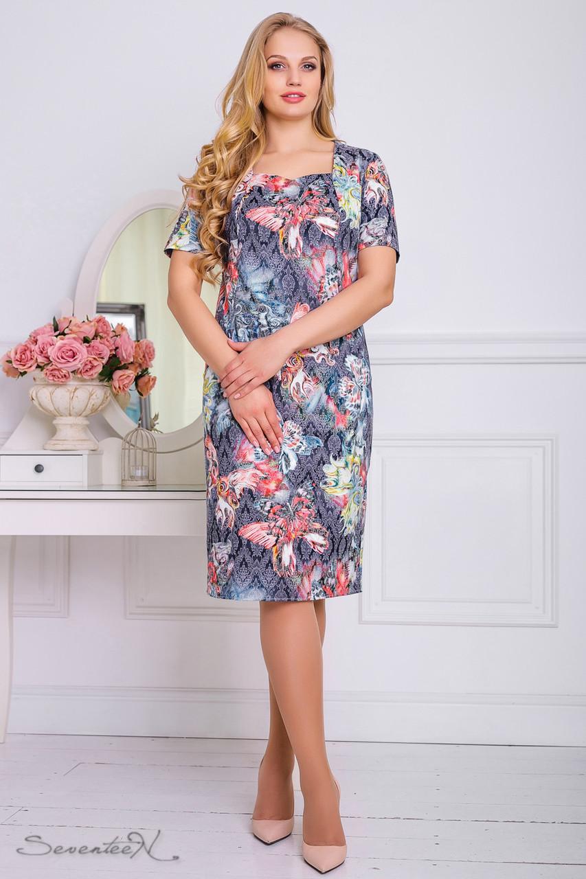 ebc86a1b0e810b4 Летнее платье жаккардовое с принтом большого размера 48-56 размера ...