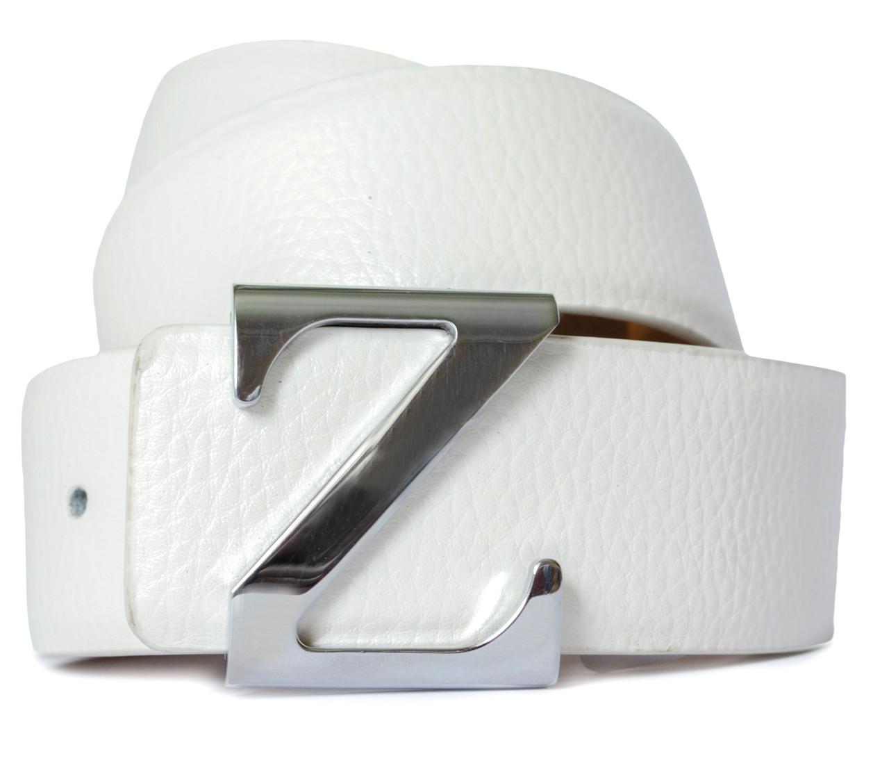 Стильный мужской ремень в белом цвете 100% кожи в стиле Zegna