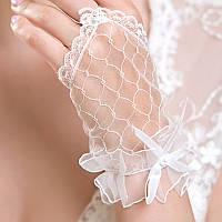Свадебные перчатки, белые, короткие, без пальцев (митенки) сетка, с бантиком