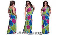 Длинное летнее платье большого размера с цветочным принтом (р.50-56)