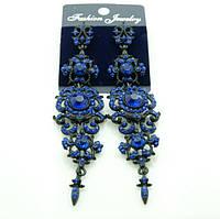Изысканные длинные серьги-подвески, длинные серьги из камней и кристаллов на выпускной бал или на свадьбу.