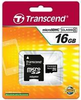 Карта памяти microSDHC Transcend 16 GB class 4  (+ SD адаптер)