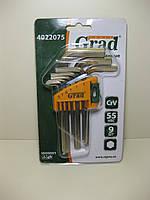 Набор шестирнанных ключей 9 предметов на блистере GRAD