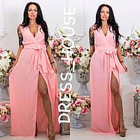Женское стильное шифоновое платье в пол с поясом на запах (12 цветов), фото 1
