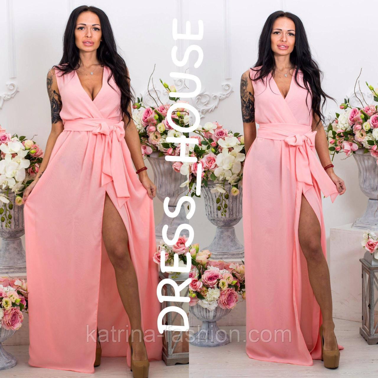 2e8196b7ff36512 Женское стильное шифоновое платье в пол с поясом на запах (12 цветов) -  KATRINA