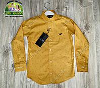 Нарядная рубашка Armani для мальчика на выпускной горчичный цвет