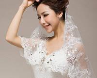 Свадебная фата с ажурной вышивкой и блестками
