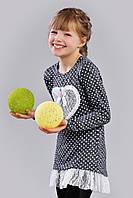 Оригинальная нарядная трикотажная туника для девочки с кружевом