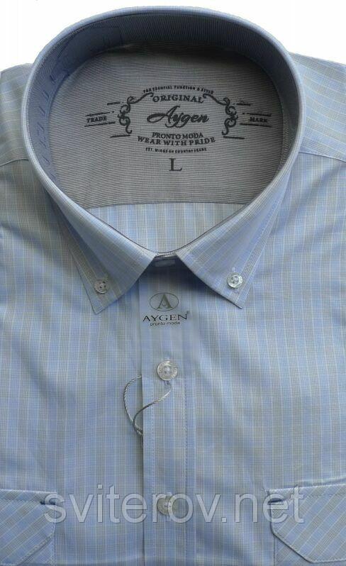 Мужская голубая рубашка в полоску AYGEN (Турция)