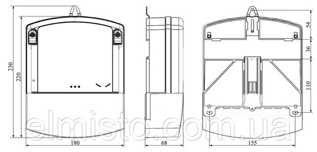 Габаритные и установочные размеры электросчетчика Torgrids 10XX.120A/4T+
